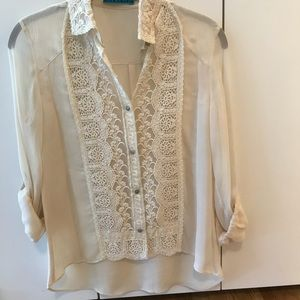 100💯% silk & lace blouse